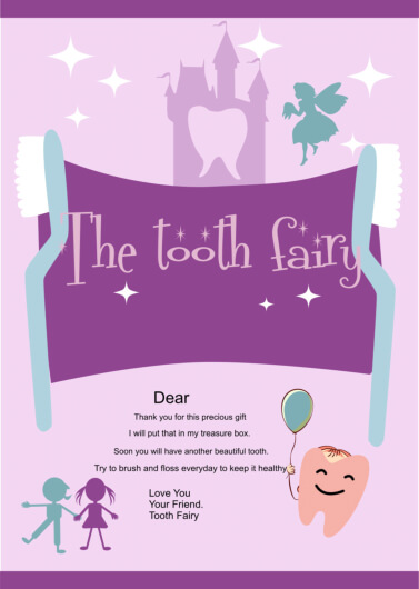 Kid Friendly Dental, tooth Fairy Letter